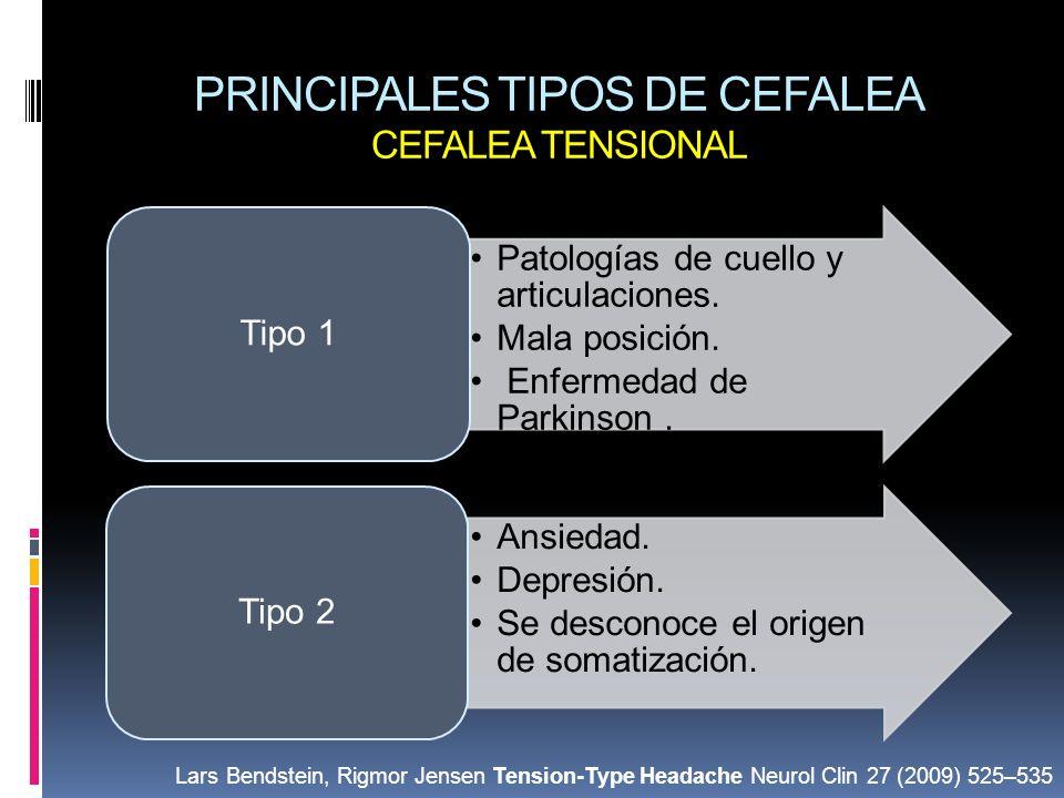 PRINCIPALES TIPOS DE CEFALEA CEFALEA TENSIONAL Patologías de cuello y articulaciones. Mala posición. Enfermedad de Parkinson. Tipo 1 Ansiedad. Depresi