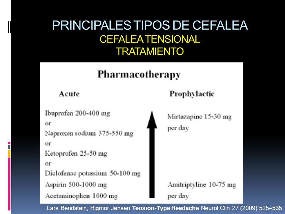 PRINCIPALES TIPOS DE CEFALEA CEFALEA TENSIONAL TRATAMIENTO Lars Bendstein, Rigmor Jensen Tension-Type Headache Neurol Clin 27 (2009) 525–535