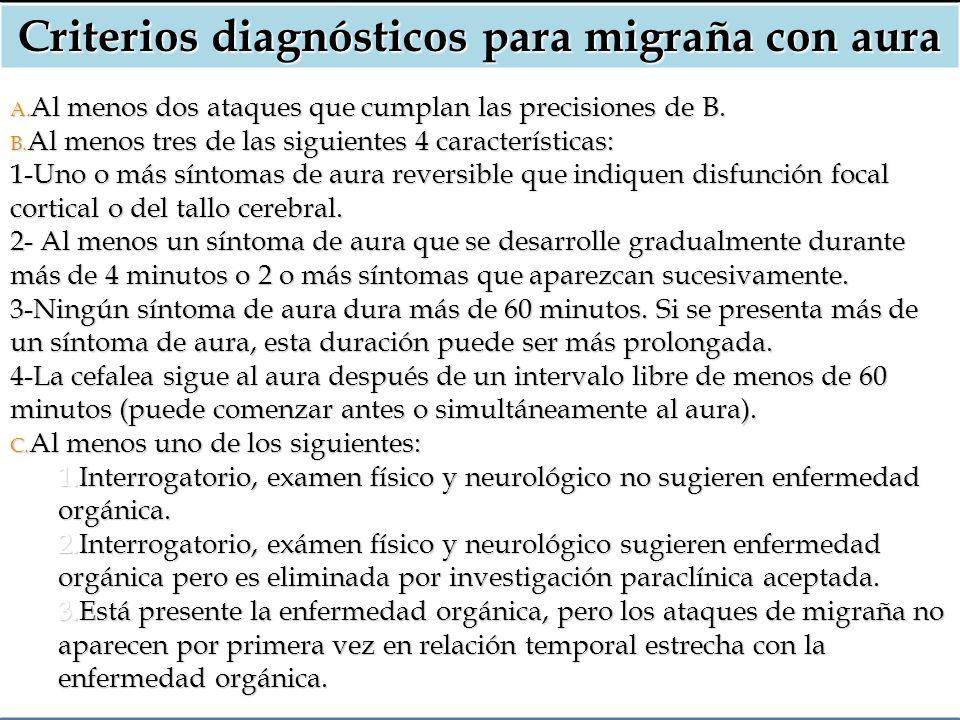 Criterios diagnósticos para migraña con aura A. Al menos dos ataques que cumplan las precisiones de B. B. Al menos tres de las siguientes 4 caracterís