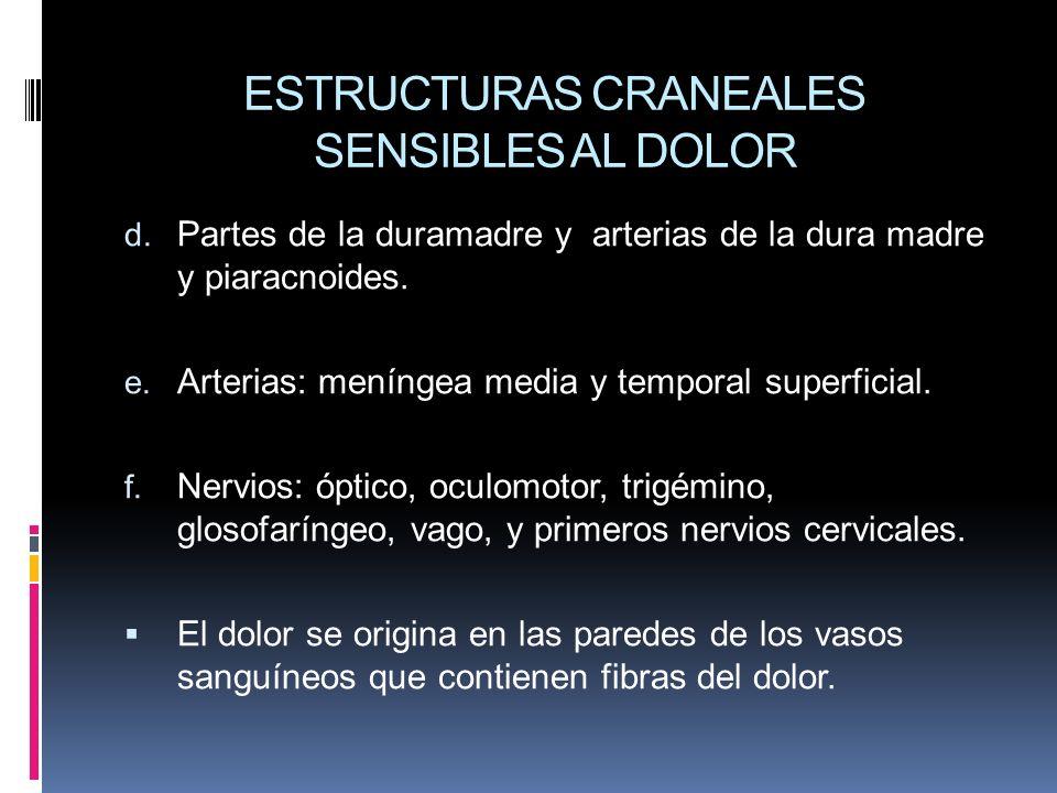 ESTRUCTURAS CRANEALES SENSIBLES AL DOLOR d. Partes de la duramadre y arterias de la dura madre y piaracnoides. e. Arterias: meníngea media y temporal
