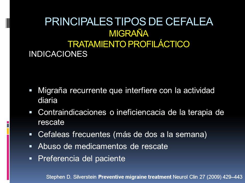 PRINCIPALES TIPOS DE CEFALEA MIGRAÑA TRATAMIENTO PROFILÁCTICO INDICACIONES Migraña recurrente que interfiere con la actividad diaria Contraindicacione