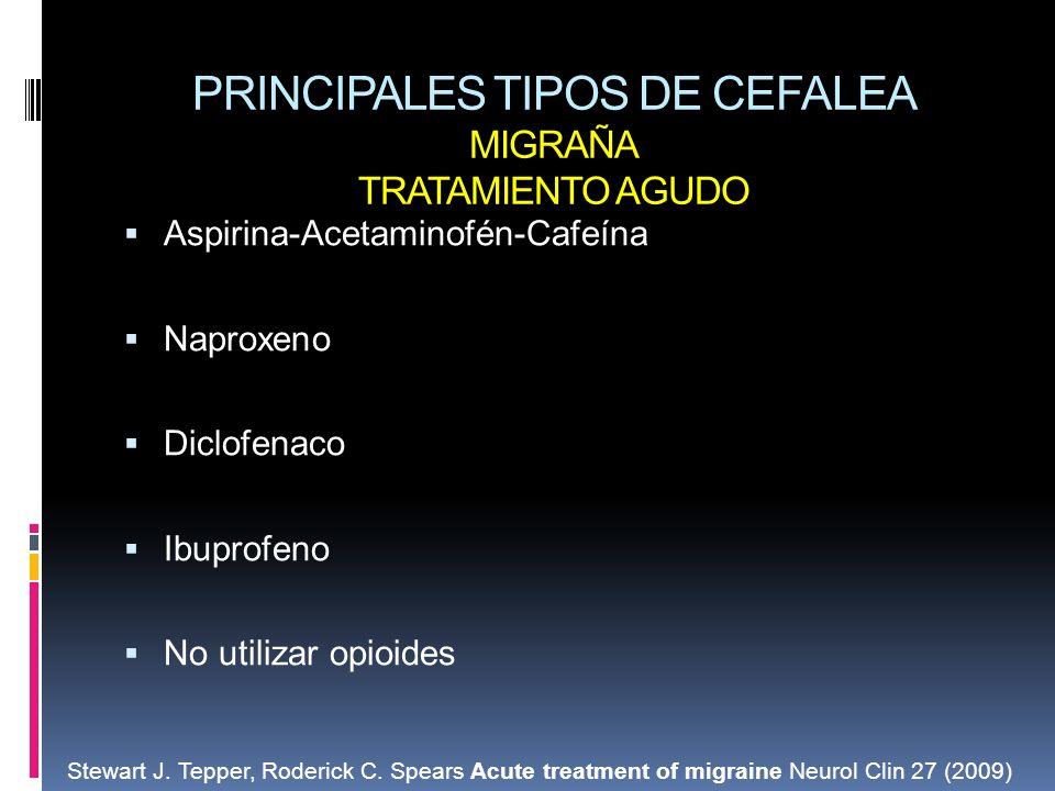 PRINCIPALES TIPOS DE CEFALEA MIGRAÑA TRATAMIENTO AGUDO Aspirina-Acetaminofén-Cafeína Naproxeno Diclofenaco Ibuprofeno No utilizar opioides Stewart J.