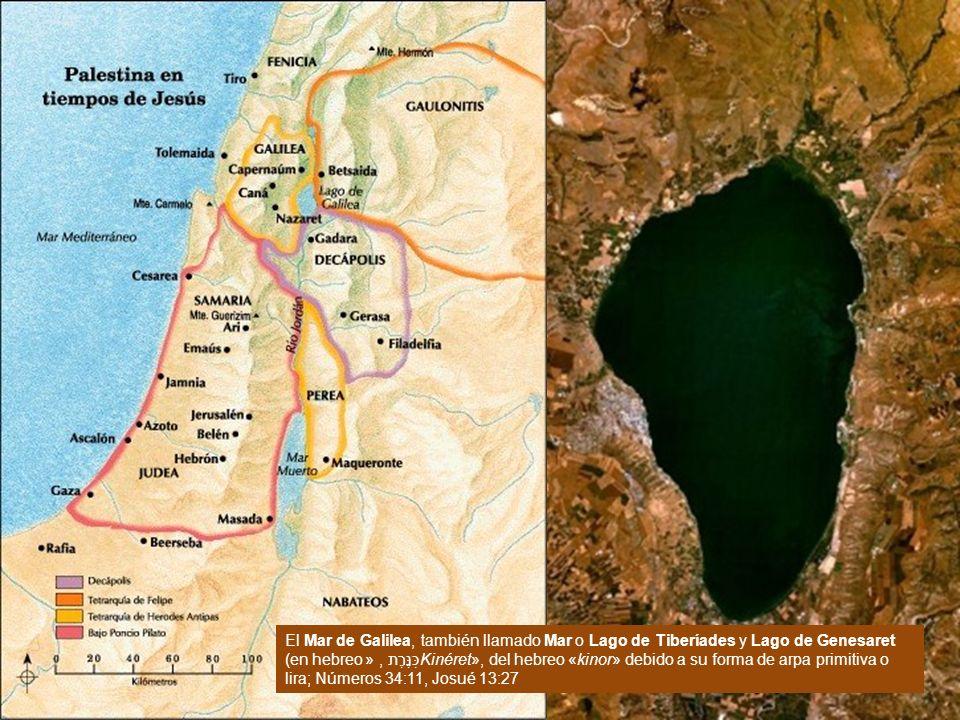 Galilea El Mar de Galilea, también llamado Mar o Lago de Tiberíades y Lago de Genesaret (en hebreo כִּנֶּרֶת, «Kinéret», del hebreo «kinor» debido a s
