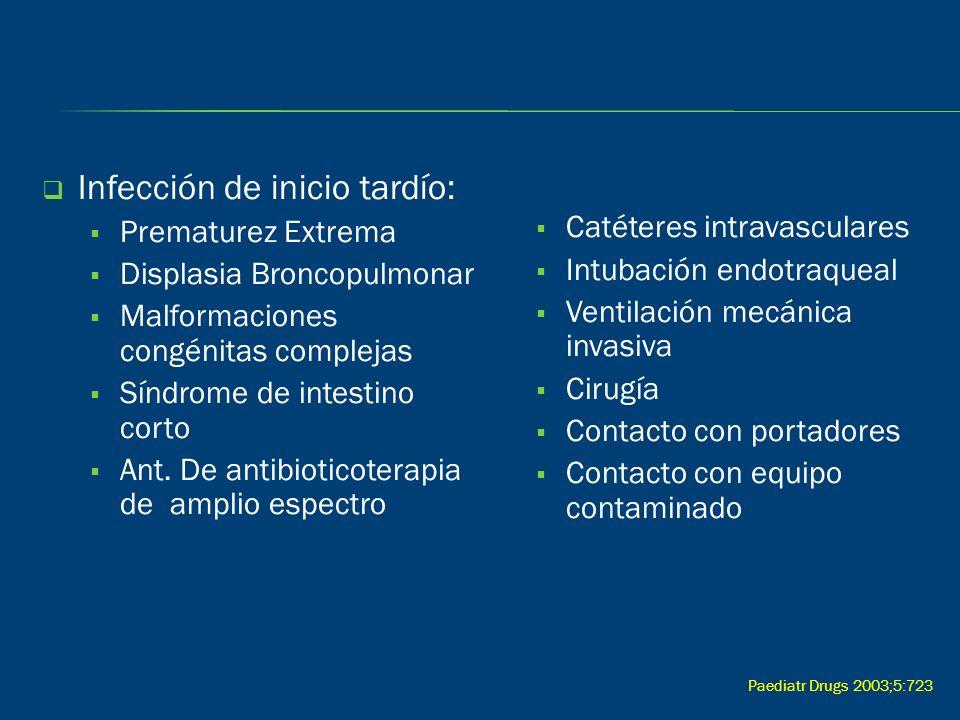 Infección de inicio tardío: Prematurez Extrema Displasia Broncopulmonar Malformaciones congénitas complejas Síndrome de intestino corto Ant. De antibi