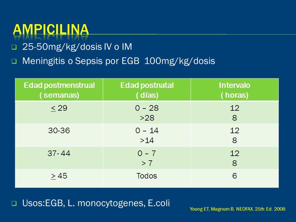 25-50mg/kg/dosis IV o IM Meningitis o Sepsis por EGB 100mg/kg/dosis Usos:EGB, L. monocytogenes, E.coli Edad postmenstrual ( semanas) Edad postnatal (