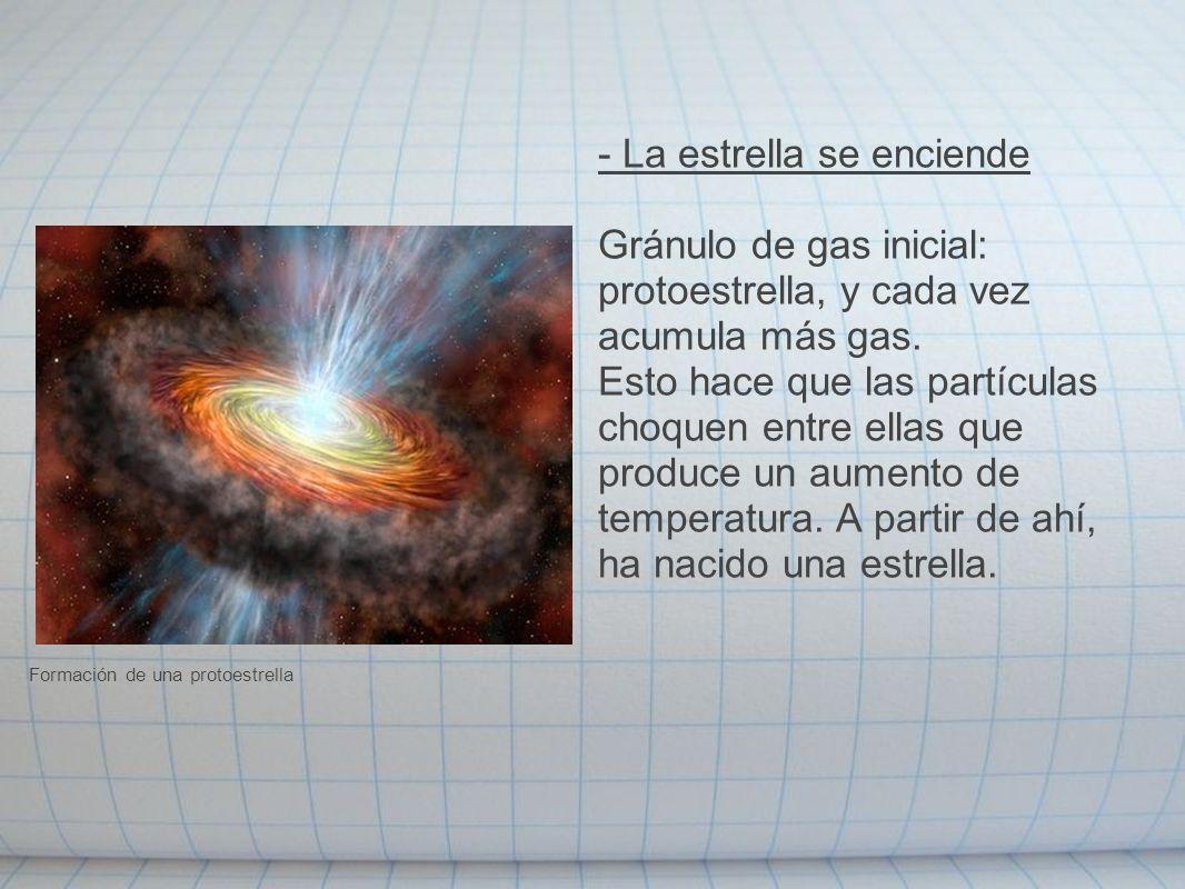 - La estrella se enciende Gránulo de gas inicial: protoestrella, y cada vez acumula más gas. Esto hace que las partículas choquen entre ellas que prod