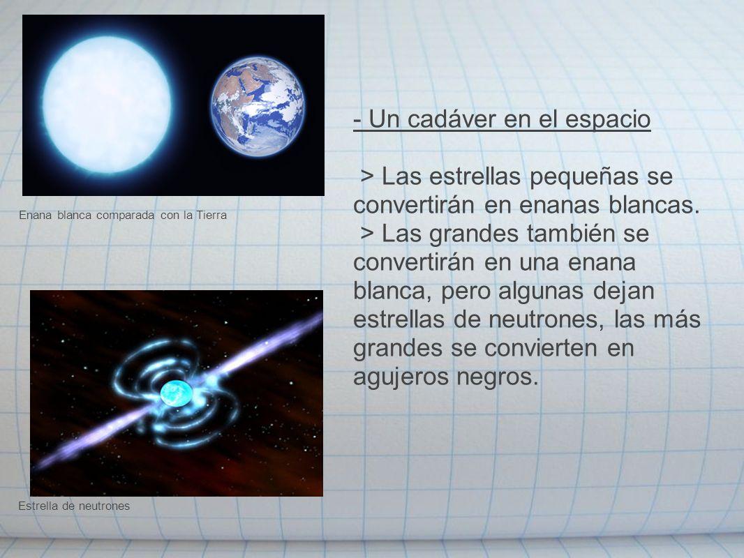 - Un cadáver en el espacio > Las estrellas pequeñas se convertirán en enanas blancas. > Las grandes también se convertirán en una enana blanca, pero a