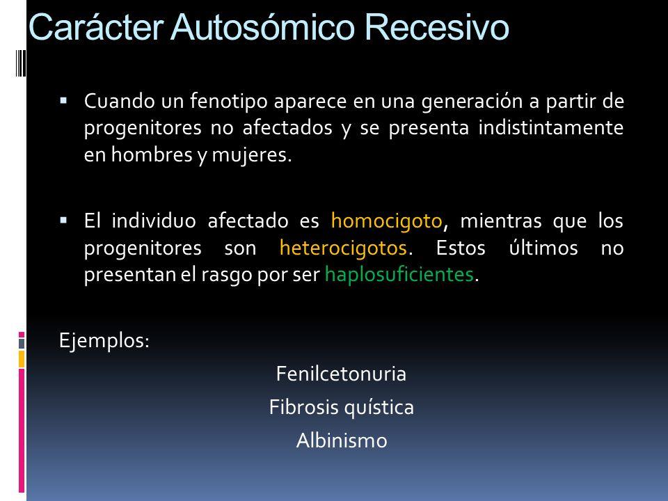 Carácter Autosómico Recesivo Cuando un fenotipo aparece en una generación a partir de progenitores no afectados y se presenta indistintamente en hombr