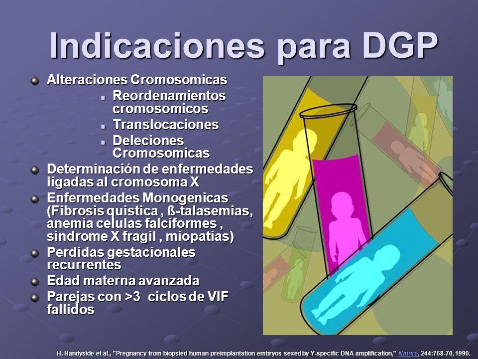 Indicaciones para DGP Indicaciones para DGP Alteraciones Cromosomicas Reordenamientos cromosomicos Reordenamientos cromosomicos Translocaciones Transl
