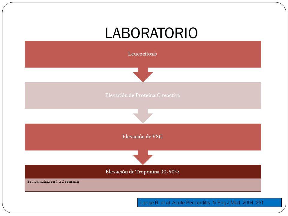 LABORATORIO Elevación de Troponina 30-50% Se normaliza en 1 a 2 semanas Elevación de VSG Elevación de Proteína C reactiva Leucocitosis Lange R, et al.