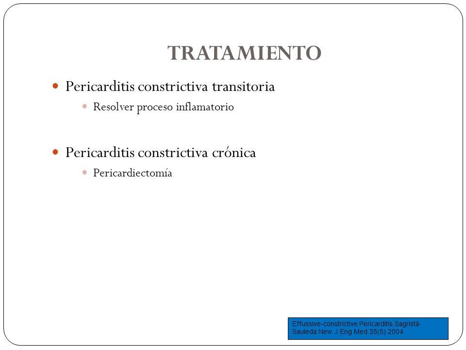TRATAMIENTO Pericarditis constrictiva transitoria Resolver proceso inflamatorio Pericarditis constrictiva crónica Pericardiectomía Effussive-constrict