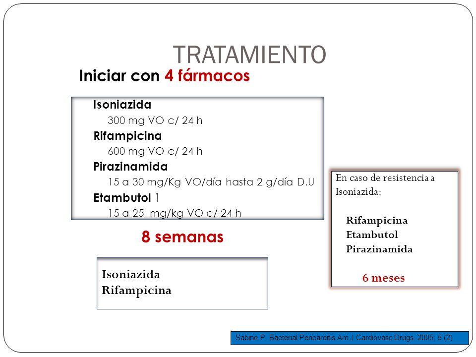 TRATAMIENTO Iniciar con 4 fármacos 8 semanas Isoniazida 300 mg VO c/ 24 h Rifampicina 600 mg VO c/ 24 h Pirazinamida 15 a 30 mg/Kg VO/día hasta 2 g/dí