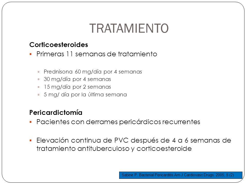TRATAMIENTO Corticoesteroides Primeras 11 semanas de tratamiento Prednisona 60 mg/día por 4 semanas 30 mg/día por 4 semanas 15 mg/día por 2 semanas 5