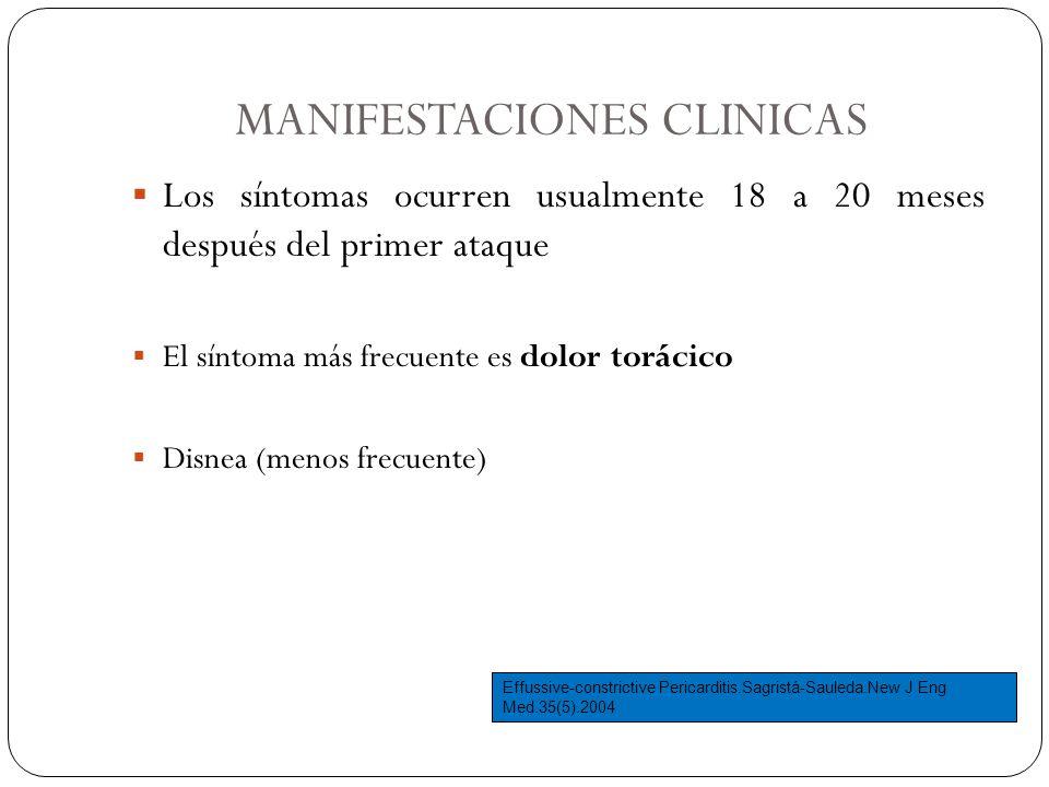 MANIFESTACIONES CLINICAS Los síntomas ocurren usualmente 18 a 20 meses después del primer ataque El síntoma más frecuente es dolor torácico Disnea (me