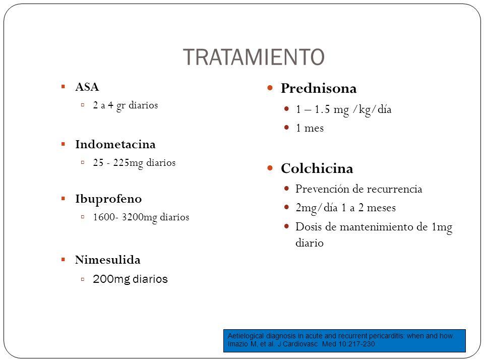 TRATAMIENTO ASA 2 a 4 gr diarios Indometacina 25 - 225mg diarios Ibuprofeno 1600- 3200mg diarios Nimesulida 200mg diarios Prednisona 1 – 1.5 mg /kg/dí