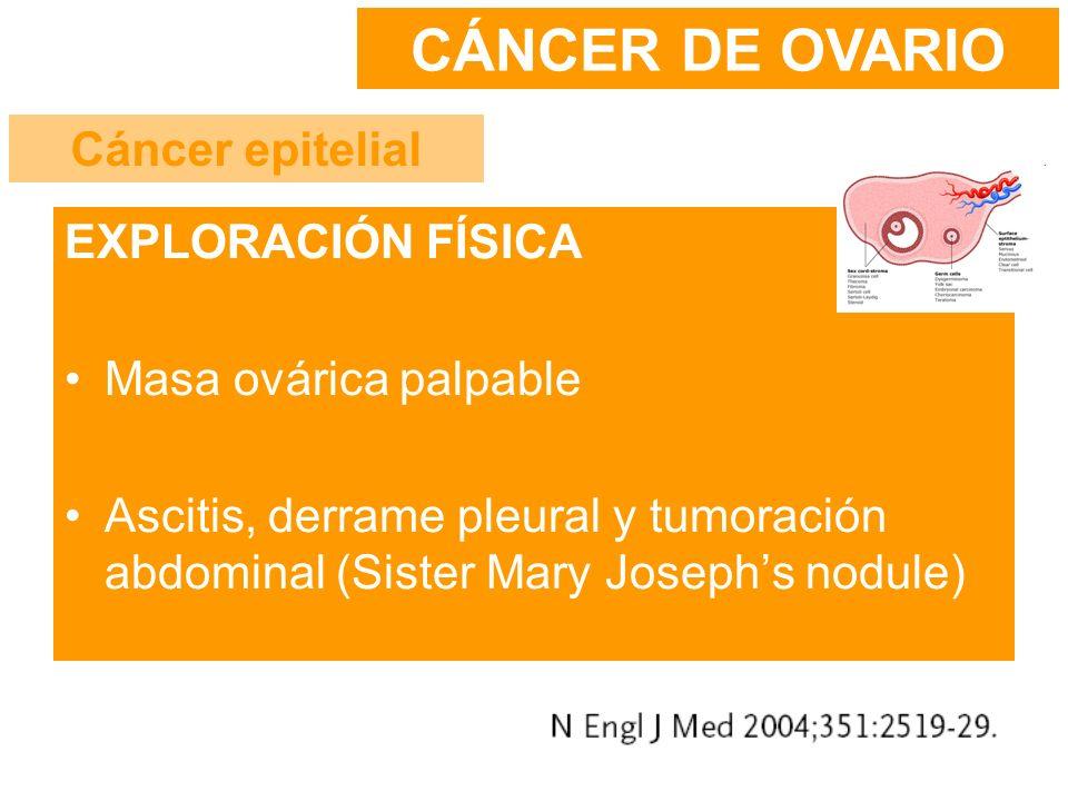EXPLORACIÓN FÍSICA Masa ovárica palpable Ascitis, derrame pleural y tumoración abdominal (Sister Mary Josephs nodule) CÁNCER DE OVARIO Cáncer epitelia