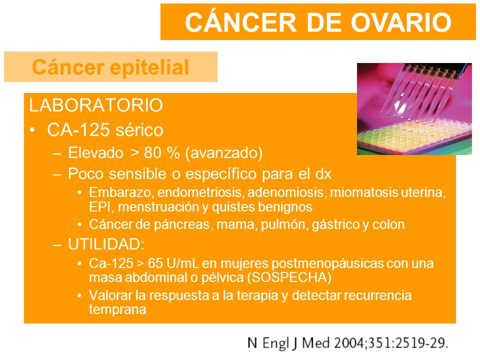 LABORATORIO CA-125 sérico –Elevado > 80 % (avanzado) –Poco sensible o específico para el dx Embarazo, endometriosis, adenomiosis, miomatosis uterina,