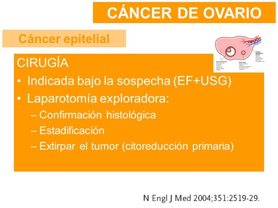 CIRUGÍA Indicada bajo la sospecha (EF+USG) Laparotomía exploradora: –Confirmación histológica –Estadificación –Extirpar el tumor (citoreducción primar