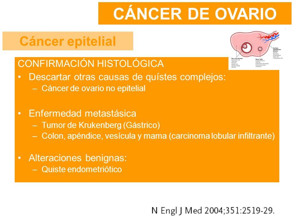 CONFIRMACIÓN HISTOLÓGICA Descartar otras causas de quístes complejos: –Cáncer de ovario no epitelial Enfermedad metastásica –Tumor de Krukenberg (Gást