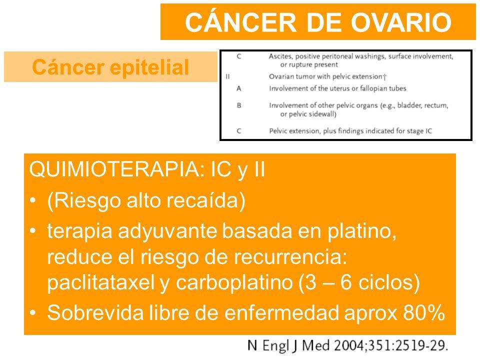 QUIMIOTERAPIA: IC y II (Riesgo alto recaída) terapia adyuvante basada en platino, reduce el riesgo de recurrencia: paclitataxel y carboplatino (3 – 6