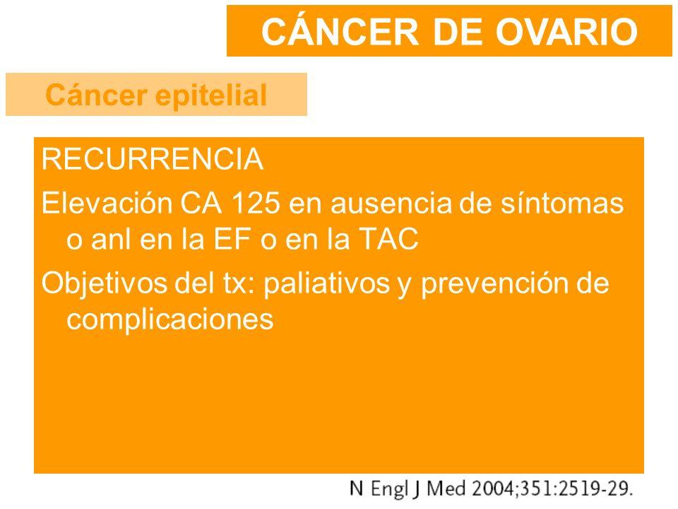 RECURRENCIA Elevación CA 125 en ausencia de síntomas o anl en la EF o en la TAC Objetivos del tx: paliativos y prevención de complicaciones CÁNCER DE