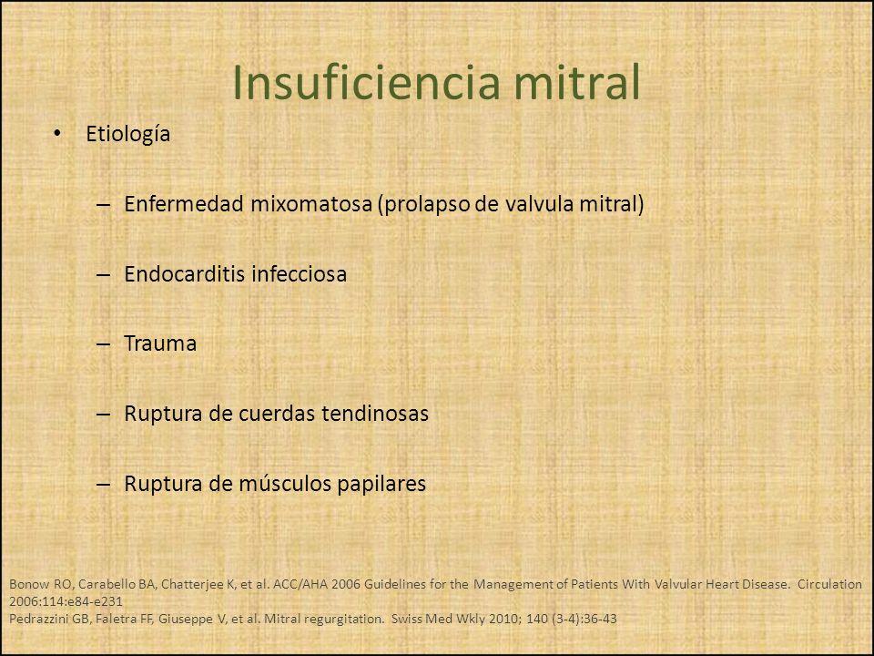 Insuficiencia mitral Etiología – Enfermedad mixomatosa (prolapso de valvula mitral) – Endocarditis infecciosa – Trauma – Ruptura de cuerdas tendinosas