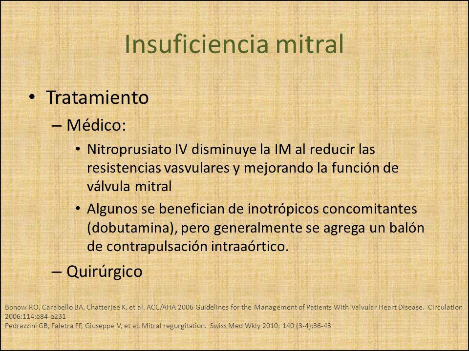 Tratamiento – Médico: Nitroprusiato IV disminuye la IM al reducir las resistencias vasvulares y mejorando la función de válvula mitral Algunos se bene