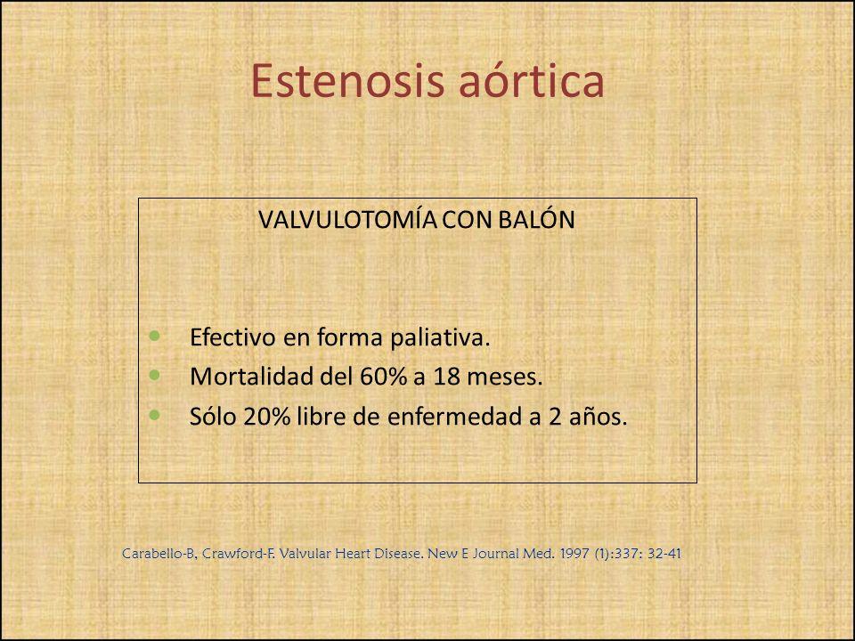 VALVULOTOMÍA CON BALÓN Efectivo en forma paliativa. Mortalidad del 60% a 18 meses. Sólo 20% libre de enfermedad a 2 años. Carabello-B, Crawford-F. Val