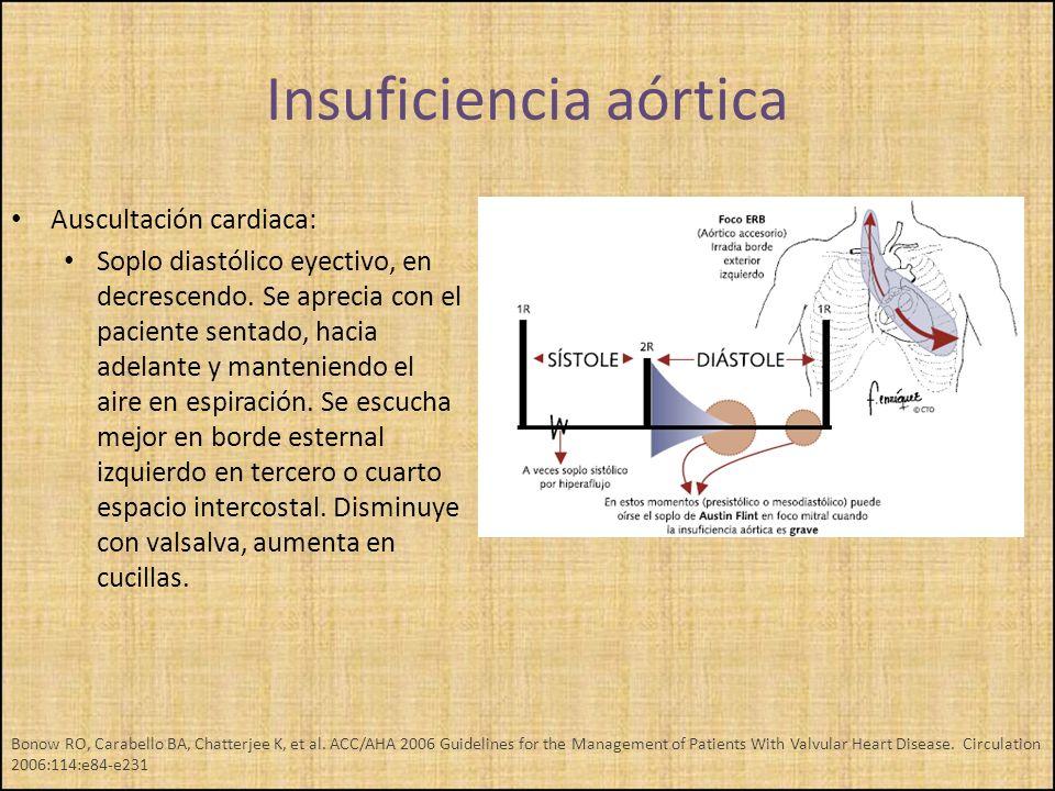 Auscultación cardiaca: Soplo diastólico eyectivo, en decrescendo. Se aprecia con el paciente sentado, hacia adelante y manteniendo el aire en espiraci