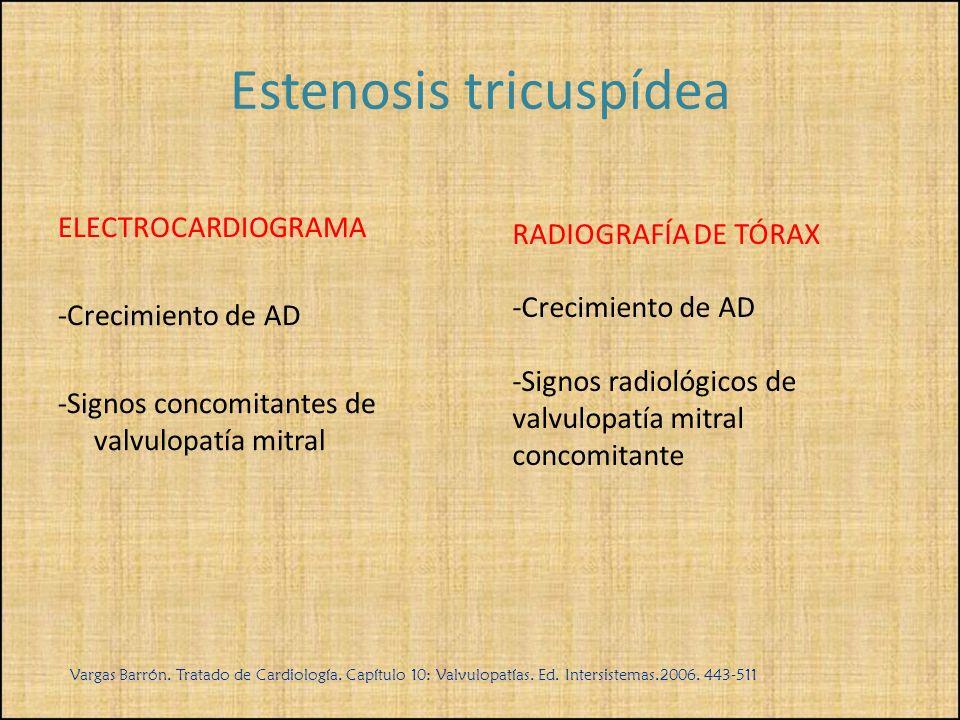 ELECTROCARDIOGRAMA -Crecimiento de AD -Signos concomitantes de valvulopatía mitral RADIOGRAFÍA DE TÓRAX -Crecimiento de AD -Signos radiológicos de val