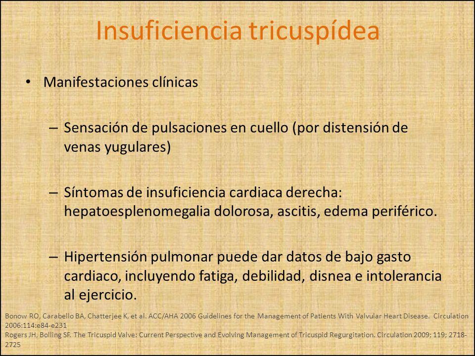 Manifestaciones clínicas – Sensación de pulsaciones en cuello (por distensión de venas yugulares) – Síntomas de insuficiencia cardiaca derecha: hepato
