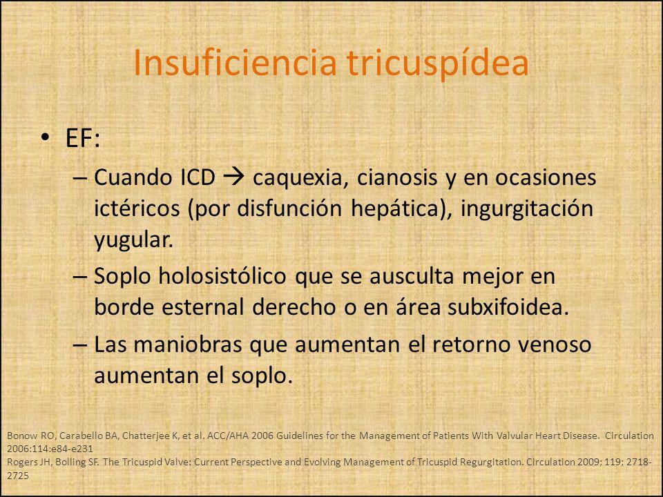 EF: – Cuando ICD caquexia, cianosis y en ocasiones ictéricos (por disfunción hepática), ingurgitación yugular. – Soplo holosistólico que se ausculta m