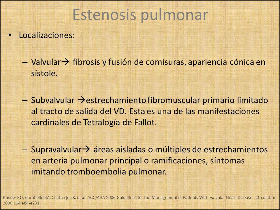 Localizaciones: – Valvular fibrosis y fusión de comisuras, apariencia cónica en sístole. – Subvalvular estrechamiento fibromuscular primario limitado
