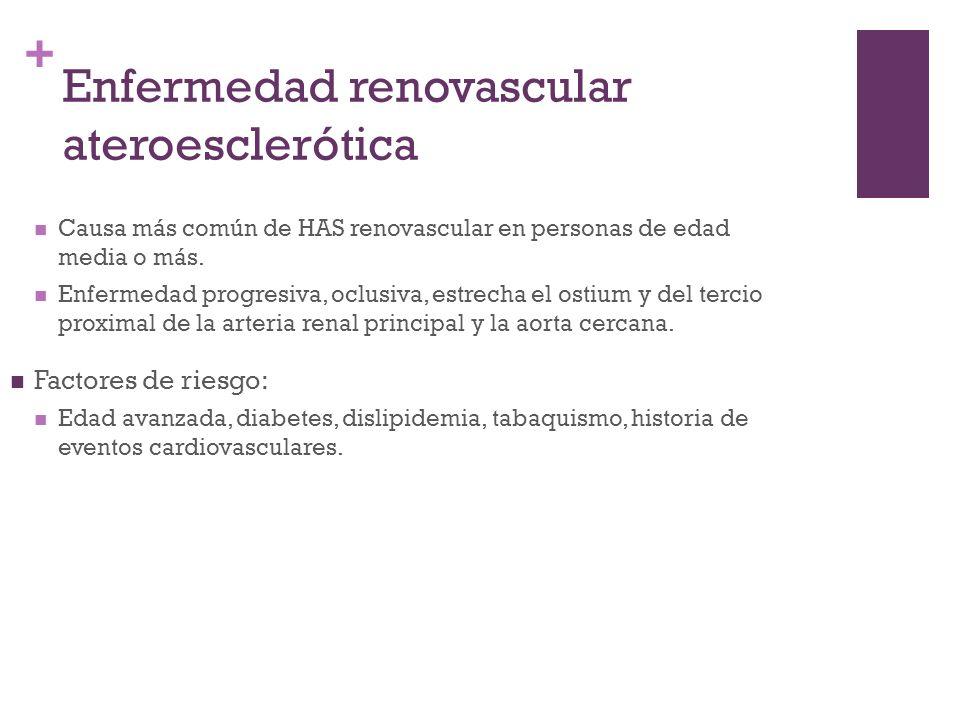 + Enfermedad renovascular ateroesclerótica Causa más común de HAS renovascular en personas de edad media o más. Enfermedad progresiva, oclusiva, estre