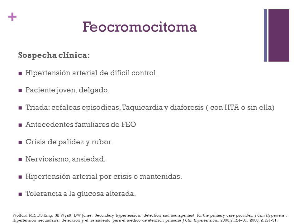 + Sospecha clínica: Hipertensión arterial de difícil control. Paciente joven, delgado. Triada: cefaleas episodicas, Taquicardia y diaforesis ( con HTA