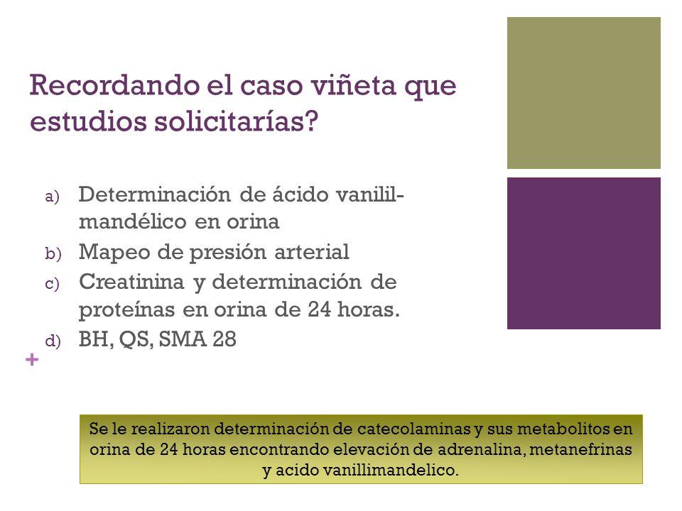 + Recordando el caso viñeta que estudios solicitarías? a) Determinación de ácido vanilil- mandélico en orina b) Mapeo de presión arterial c) Creatinin