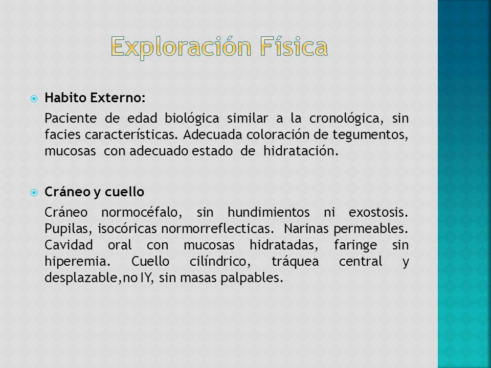 Habito Externo: Paciente de edad biológica similar a la cronológica, sin facies características. Adecuada coloración de tegumentos, mucosas con adecua