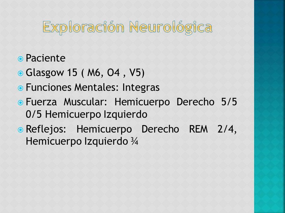 Paciente Glasgow 15 ( M6, O4, V5) Funciones Mentales: Integras Fuerza Muscular: Hemicuerpo Derecho 5/5 0/5 Hemicuerpo Izquierdo Reflejos: Hemicuerpo D