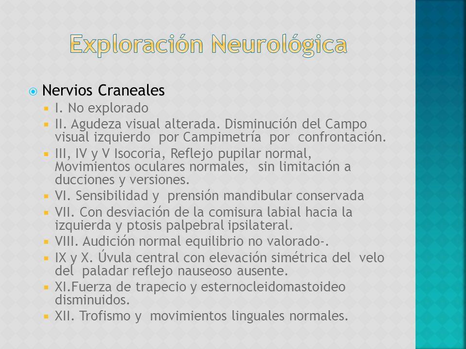 Nervios Craneales I. No explorado II. Agudeza visual alterada. Disminución del Campo visual izquierdo por Campimetría por confrontación. III, IV y V I
