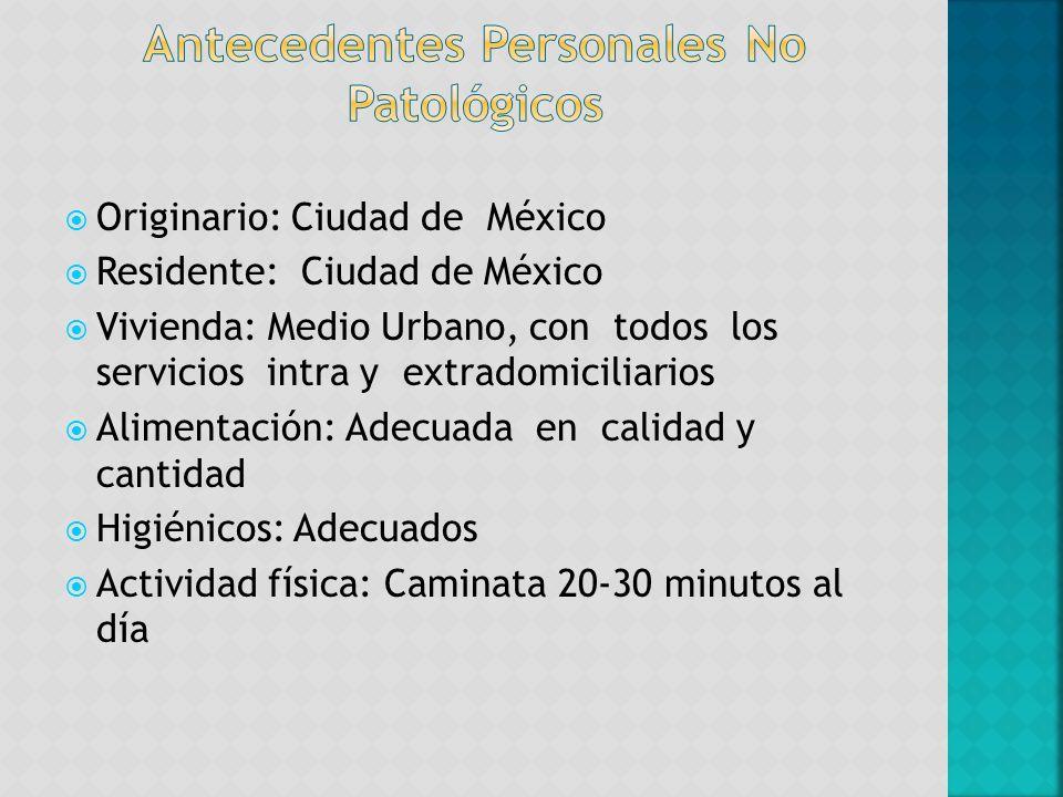 Originario: Ciudad de México Residente: Ciudad de México Vivienda: Medio Urbano, con todos los servicios intra y extradomiciliarios Alimentación: Adec