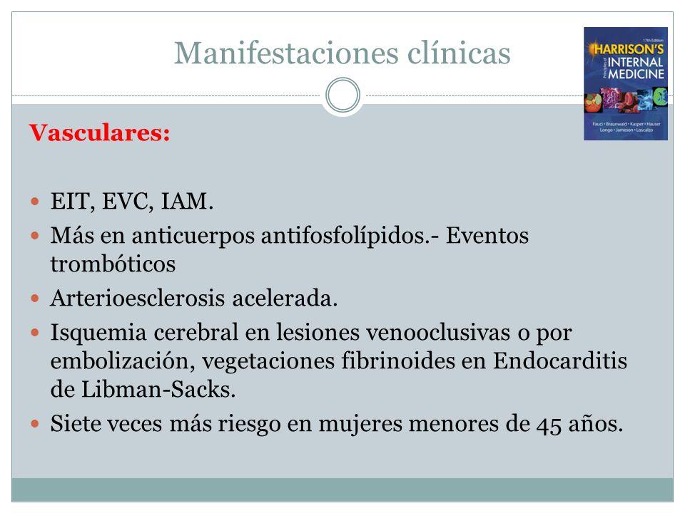 Manifestaciones clínicas Vasculares: EIT, EVC, IAM. Más en anticuerpos antifosfolípidos.- Eventos trombóticos Arterioesclerosis acelerada. Isquemia ce