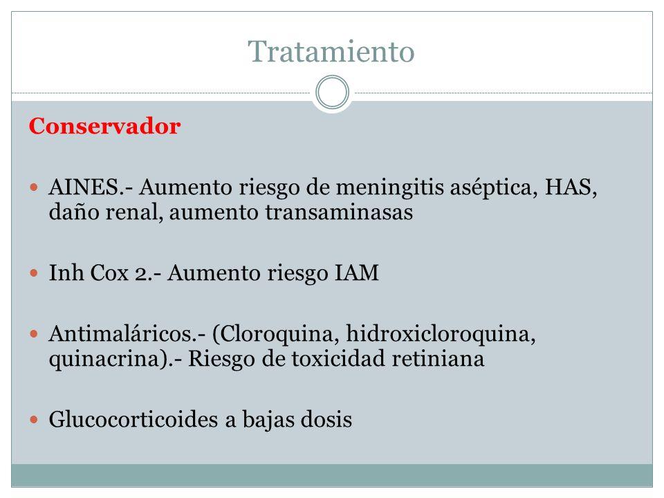 Conservador AINES.- Aumento riesgo de meningitis aséptica, HAS, daño renal, aumento transaminasas Inh Cox 2.- Aumento riesgo IAM Antimaláricos.- (Clor