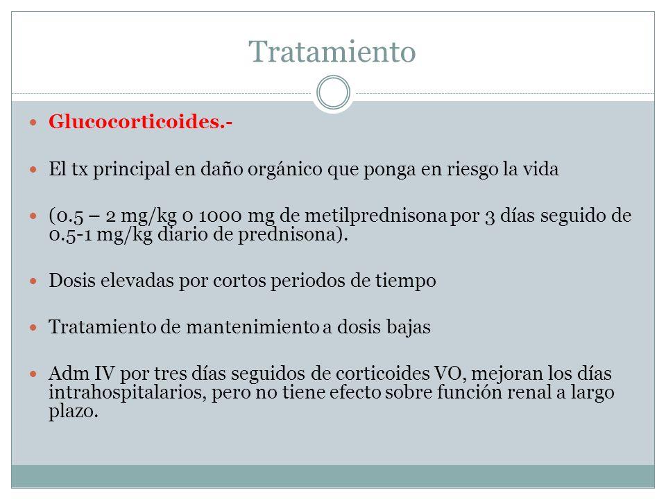 Tratamiento Glucocorticoides.- El tx principal en daño orgánico que ponga en riesgo la vida (0.5 – 2 mg/kg 0 1000 mg de metilprednisona por 3 días seg