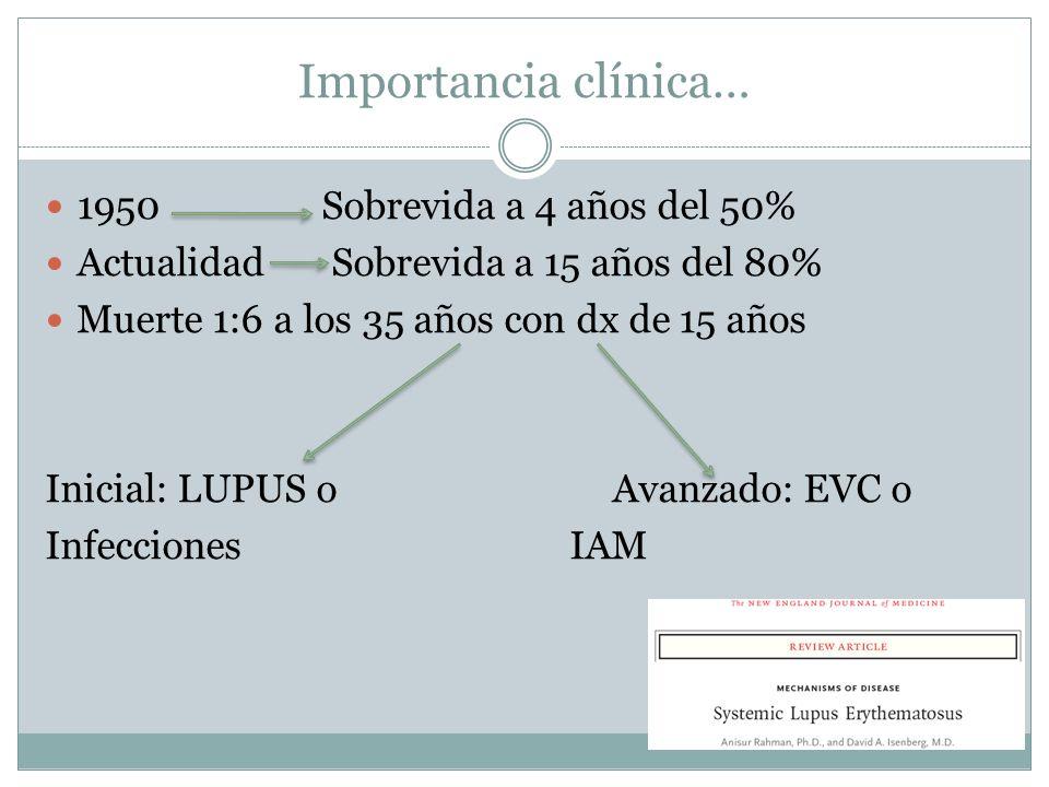 Importancia clínica… 1950 Sobrevida a 4 años del 50% Actualidad Sobrevida a 15 años del 80% Muerte 1:6 a los 35 años con dx de 15 años Inicial: LUPUS