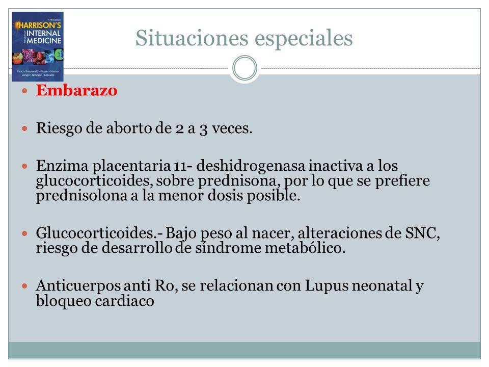 Situaciones especiales Embarazo Riesgo de aborto de 2 a 3 veces. Enzima placentaria 11- deshidrogenasa inactiva a los glucocorticoides, sobre predniso