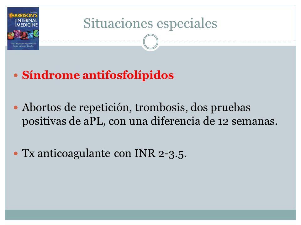 Situaciones especiales Síndrome antifosfolípidos Abortos de repetición, trombosis, dos pruebas positivas de aPL, con una diferencia de 12 semanas. Tx