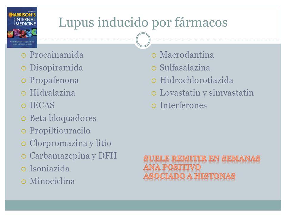 Lupus inducido por fármacos Procainamida Disopiramida Propafenona Hidralazina IECAS Beta bloquadores Propiltiouracilo Clorpromazina y litio Carbamazep