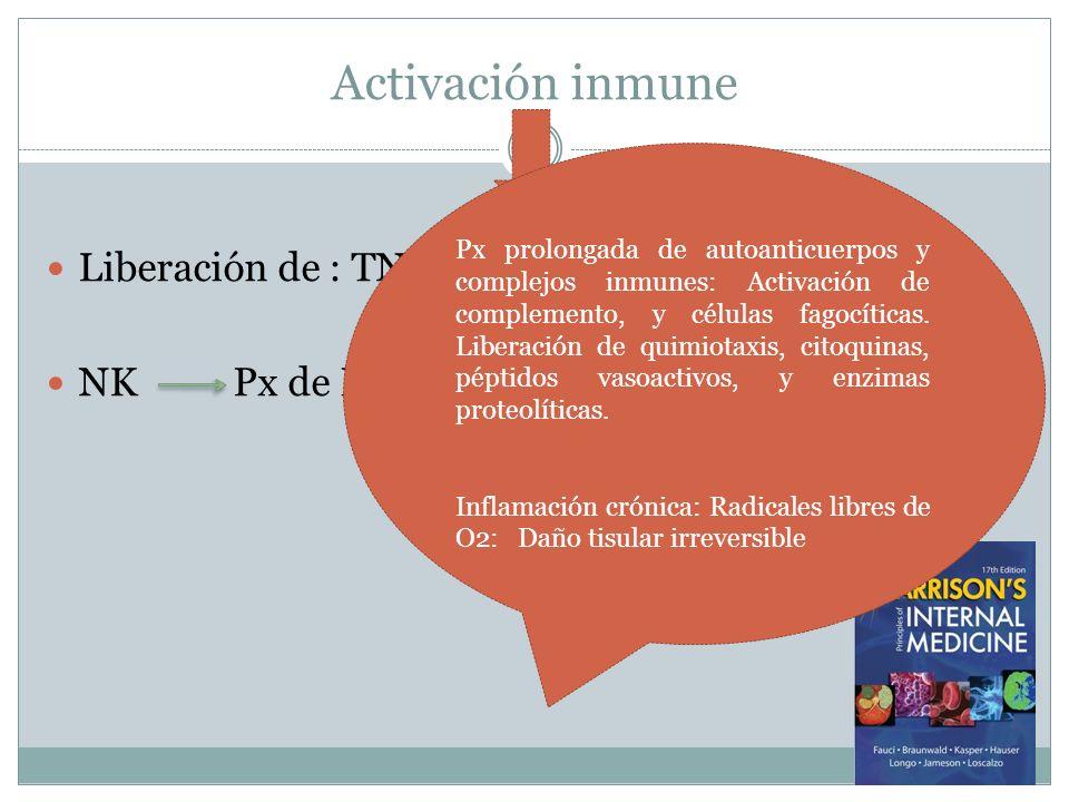 Activación inmune Liberación de : TNF, IL 10, IFN 1 y 2 NK Px de IL2 Px regulación CD4+ Inhibición CD8+ Px prolongada de autoanticuerpos y complejos i