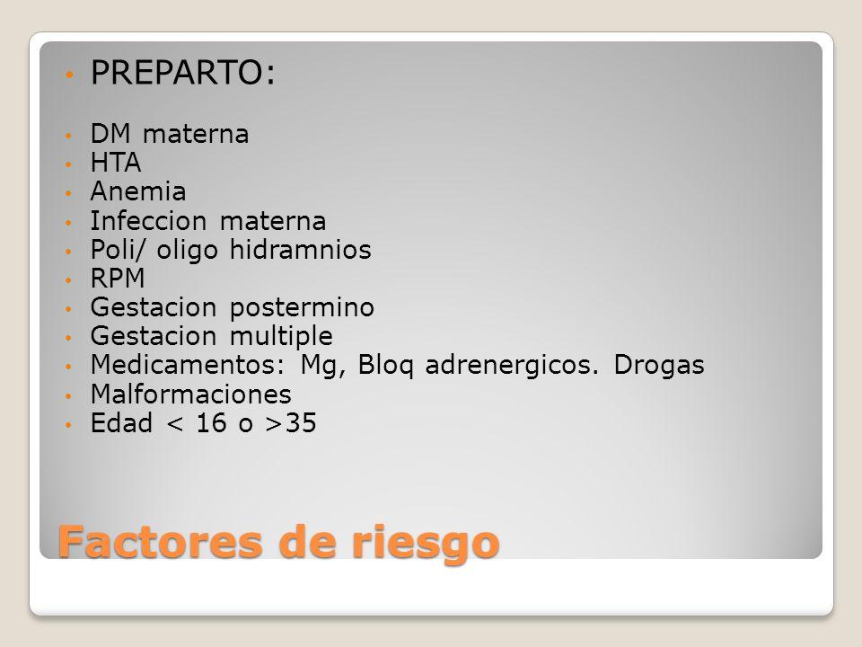 Factores de riesgo PREPARTO: DM materna HTA Anemia Infeccion materna Poli/ oligo hidramnios RPM Gestacion postermino Gestacion multiple Medicamentos: