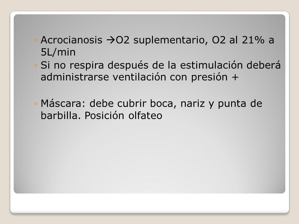 Acrocianosis O2 suplementario, O2 al 21% a 5L/min Si no respira después de la estimulación deberá administrarse ventilación con presión + Máscara: deb